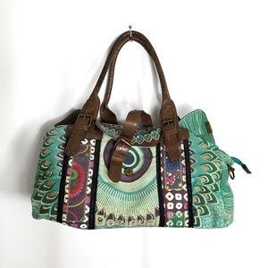 Desigual Mandala Peacock Canvas Gym Bag